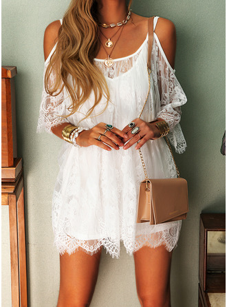 Lace Solid Shift 3/4 Sleeves Cold Shoulder Sleeve Mini Casual Vacation Dresses