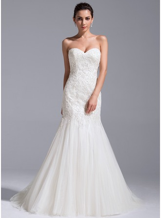 Trompete/Sereia Amada Cauda de sereia Tule Renda Vestido de noiva com lantejoulas