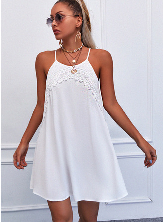 Lace Solid Shift Sleeveless Mini Casual Type Dresses