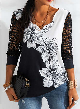 Floral Lace Print V-Neck 3/4 Sleeves Casual Blouses