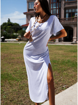 Solid Shift Short Sleeves Maxi Casual T-shirt Dresses