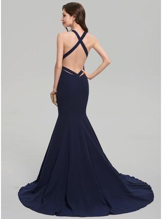 Trumpet/Mermaid V-neck Court Train Satin Evening Dress
