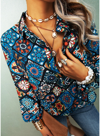Floral Print V-Neck Long Sleeves Button Up Casual