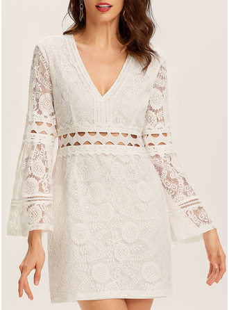 Lace Solid Sheath Flare Sleeve Long Sleeves Mini Casual Vacation Dresses