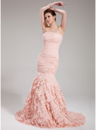 Trumpet/Mermaid Strapless Court Train Chiffon Evening Dress With Beading Cascading Ruffles
