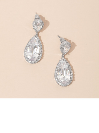 Gorgeous Zircon/Platinum Plated Ladies' Earrings