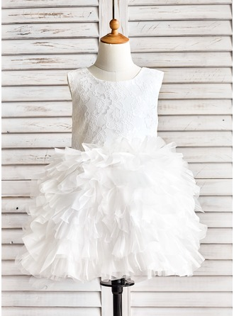 Robe Marquise Longueur genou Robes à Fleurs pour Filles - Organza/Dentelle Sans manches Col rond avec Plissé