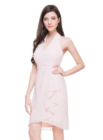 Sheath/Column Halter Knee-Length Chiffon Cocktail Dress With Cascading Ruffles