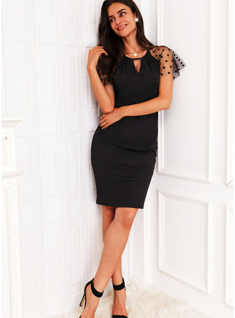 Couleur Unie Fourreau Manches Courtes Midi Petites Robes Noires Décontractée Élégante Robes tendance