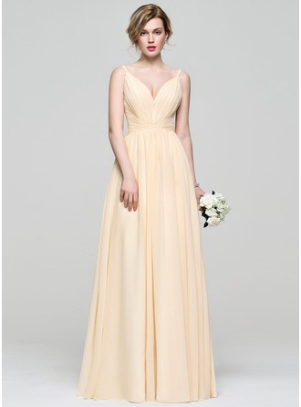A-Line/Princess V-neck Floor-Length Chiffon Prom Dress With Ruffle