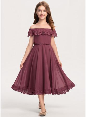 Corte A Off-the-ombro Comprimento médio Tecido de seda Renda Vestido de daminha júnior