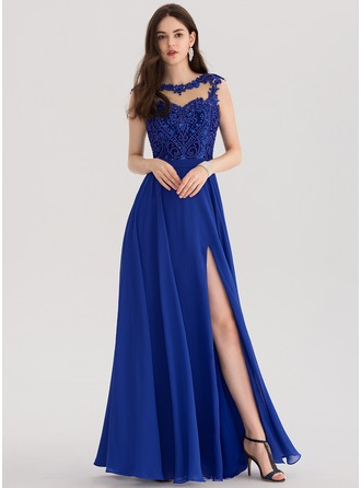 A-Line/Princess Scoop Neck Floor-Length Chiffon Evening Dress With Beading Sequins Split Front