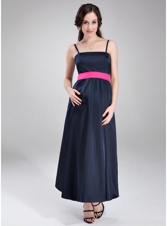 Empire Ankle-Length Charmeuse Maternity Bridesmaid Dress With Sash
