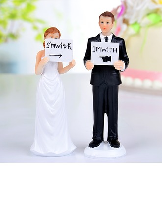 """""""I'm With Her/Him"""" Resin Wedding Cake Topper"""