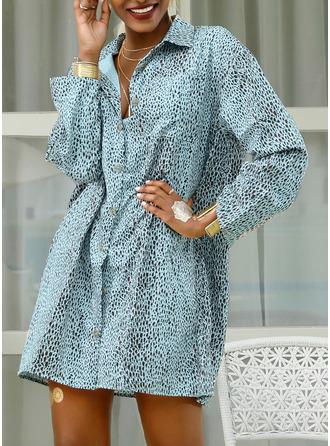 Leopard Tisk Šaty Shift 3/4 rukávy Mini Neformální Dovolená Košilové šaty Módní šaty