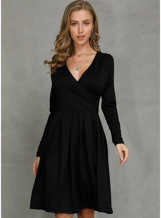 Little Black V-Neck Long Sleeves Midi Dresses