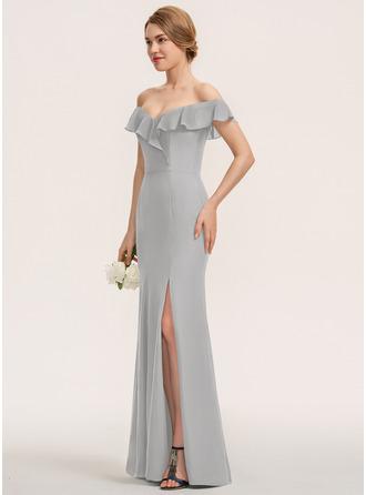 Платье-чехол Выкл-в-плечо Длина до пола шифон Платье Подружки Невесты с Разрез спереди Ниспадающие оборки