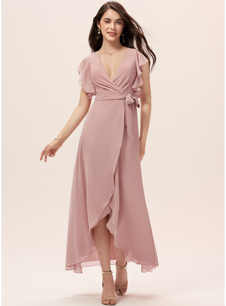 Col V Rose poudré Mousseline Robes tendance
