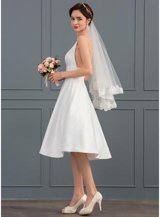 A-Line/Princess V-neck Knee-Length Satin Wedding Dress