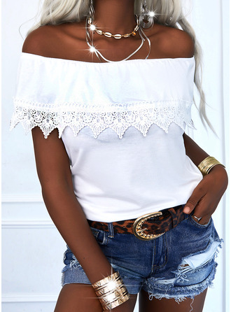 Lace Solid Off the Shoulder Short Sleeves Elegant Blouses