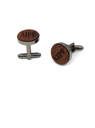 Personalized Modern Wood Copper Cufflinks