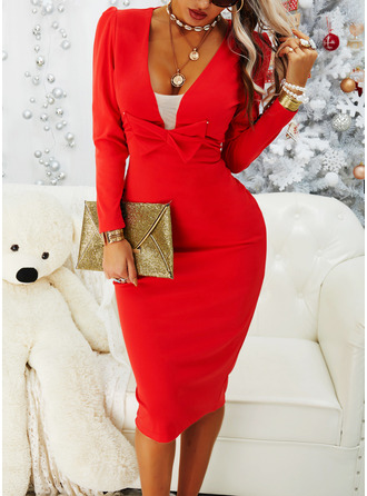 Solid Bodycon Long Sleeves Puff Sleeves Midi Little Black Party Elegant Pencil Dresses