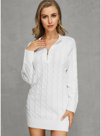 V neck Polyester Long Sleeves Solid/Chunky knit/Cable-knit Sweater Dress Fashion Dresses