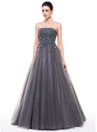 Ball-Gown/Princess Strapless Floor-Length Tulle Prom Dresses With Beading Appliques Lace Flower(s) Sequins