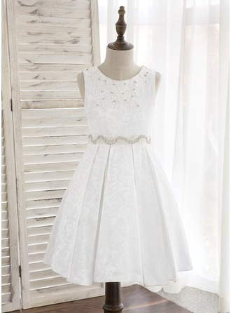 A-Line/Princess Knee-length Flower Girl Dress - Polyester Sleeveless Scoop Neck With Rhinestone