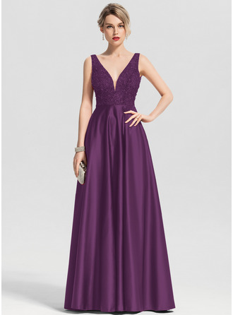 A-Line V-neck Floor-Length Satin Prom Dresses With Beading Sequins