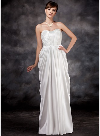 Empire Sweetheart Floor-Length Charmeuse Charmeuse Maternity Bridesmaid Dress With Ruffle