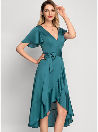 A-Line V-neck Asymmetrical Bridesmaid Dress With Bow(s) Cascading Ruffles