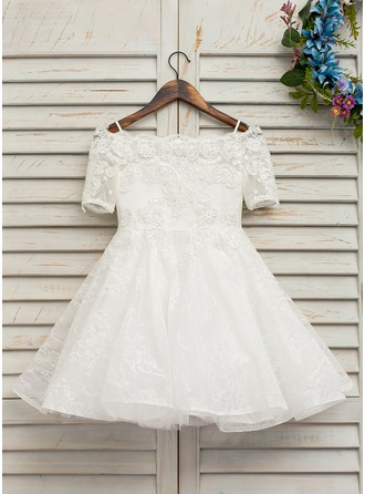 A-Line Knee-length Flower Girl Dress - Tulle/Lace Short Sleeves Off-the-Shoulder With Beading