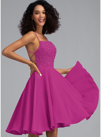 A-Line Square Neckline Knee-Length Chiffon Homecoming Dress With Beading Sequins