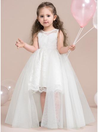 Forme Princesse Longueur genou Robes à Fleurs pour Filles - Tulle/Dentelle Sans manches Col rond avec Dentelle/Motifs appliqués Dentelle