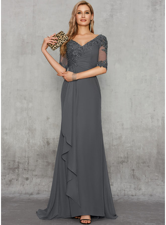 Sheath/Column V-neck Sweep Train Chiffon Evening Dress With Sequins Cascading Ruffles