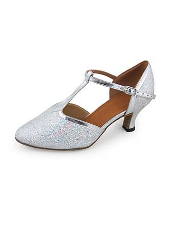 Kvinnor Konstläder Glittrande Glitter Klackar Pumps Moderna Bal Bröllop med T-Rem Dansskor
