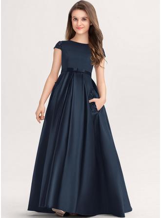 Balo Elbisesi/Prenses Yuvarlak Yaka Uzun Etekli Saten Dantel Küçük Nedime Elbisesi Ile Yaylar) Cepler