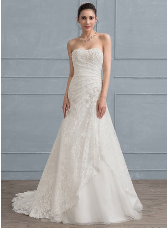 Trumpet/Mermaid Sweetheart Sweep Train Tulle Lace Wedding Dress With Ruffle Beading Sequins