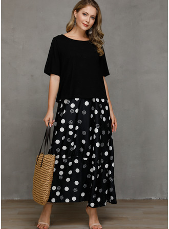 Puntíky Šaty Shift Krátké rukávy Maxi Neformální Módní šaty