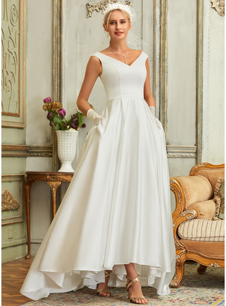 Ball-Gown/Princess V-neck Asymmetrical Satin Wedding Dress With Pockets