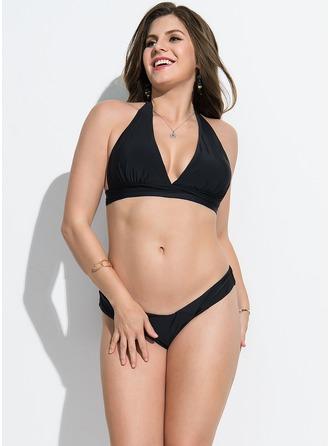 Sexy Colore solido Poliestere Bikini Costume da bagno