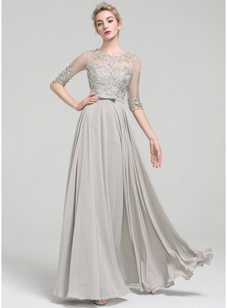 A-Line/Princess Scoop Neck Floor-Length Chiffon Evening Dress With Beading Bow(s)