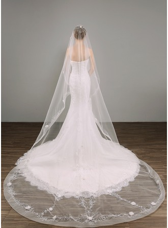 One-tier Chapel Bridal Veils With Applique/Embroidery/Beading
