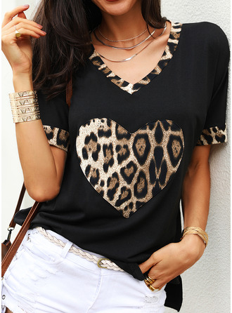 Leopard V-Neck Short Sleeves Casual T-shirt