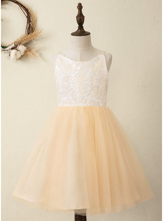 A-Line Knee-length Flower Girl Dress - Satin/Tulle/Lace Sleeveless Straps
