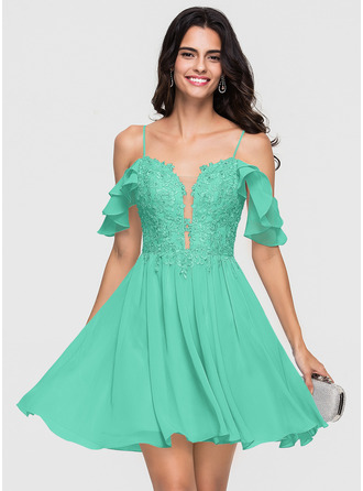 A-Line/Princess Sweetheart Short/Mini Chiffon Homecoming Dress With Lace Beading Sequins Cascading Ruffles