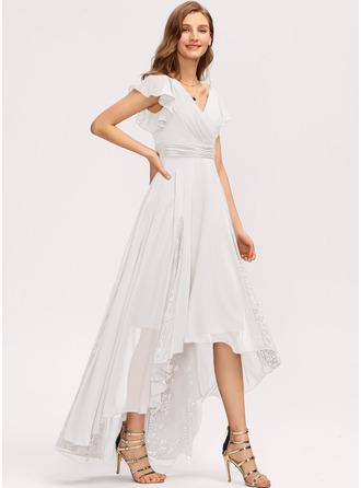 A-Line V-neck Asymmetrical Chiffon Bridesmaid Dress With Ruffle Lace