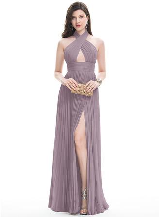 Forme Princesse Dos nu Longueur ras du sol Mousseline Robe de soirée avec Fendue devant Plissée