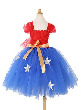 A-Line/Princess Short/Mini Flower Girl Dress - Tulle/Polyester Sleeveless Square Neckline